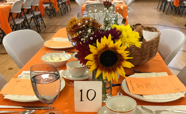 All set up and waiting for volunteers and guests to arrive. Beautiful table settings. & Community Thanksgiving Dinner   United Parish Brookline