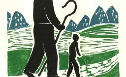 A wood print of two people walking against a backdrop of grass and mountains. One figure is very very tall and carries a shepherds crook, the other is smaller. The image represents walking with God.