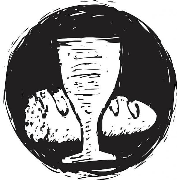 A black circle with the white silhouette of a broken baguette, and a chalice cup in front of it