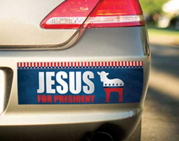"""a bumper sticker on a car that reads """"jesus for president"""" and has an outline of a lamb stylized similarly to the republican elephant and democrat donkey"""