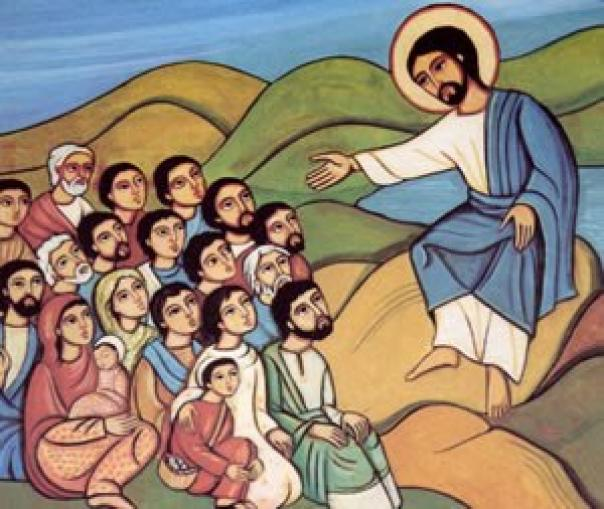 A stylized drawing of Jesus sitting on a rock and preaching to his followers, who are all looking up at him and paying attention.